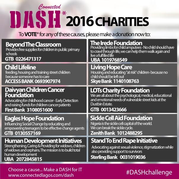 dash 2016 charities
